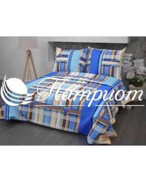 КПБ 1.5 спальный Клетка, синий, набивная бязь 142 гм2 351-1